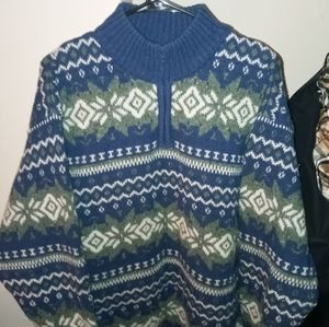 "EUC PENDLETON ""NORDIC"" Shetland wool zip-sweater"